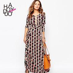 HAODUOYI Women Print Long Maxi Dress Straps Front Chiffon Dresses for Wholesale