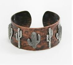 "Patina Silver Cactus Cuff Bracelet BRACELET IS 1.1"" HIGH BRACELET IS CUFF STYLE AND FITS MOST"