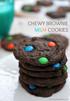 Chewy Brownie M&M Cookies   Persnickety Plates