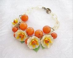 Vintage Bakelite and Celluloid Oranges and Blossoms Bracelet