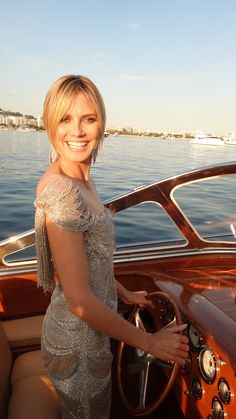 """""""Heidi Klum driving a boat in Marchesa whilst in Cannes."""" Can this be my life, please?"""