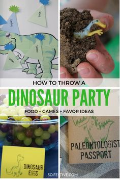 Tons of Dinosaur Birthday Party Ideas including food, favors, decorations, and game ideas. Click for all the details or save for later.                                                                                                                                                     More