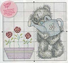 My Cross Stitch Gallery: G19 -- Tatty Teddy Watering Flowers