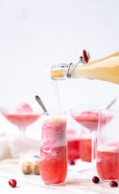 A champagne cocktail fitting for the season Cranberry Apple Mimosa Floats are a way to have your dessert and your after dinner drink in one! Cranberry Dessert Mimosa Cocktail for Fall Thanksgiving and Christmas Fruity Cocktails, Frozen Cocktails, Winter Cocktails, Apple Cocktails, Cranberry Dessert, Champagne Sorbet, After Dinner Drinks, Thanksgiving, Cocktail Recipes