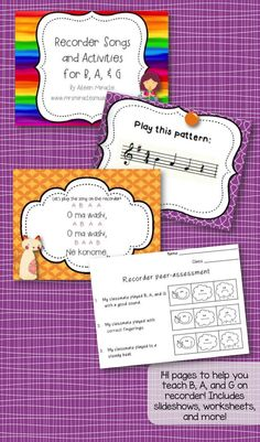 Recorder songs and activities for B, A, and G--tons of materials to help you teach BAG to your recorder students! Includes songs, worksheets, assessments, and more! $