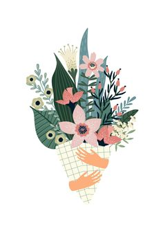 Bouquet of Flower Vector Image. Trendy Floral Wall Art Background Bouquet of flower vector image. Arte Floral, Floral Wall Art, Plant Illustration, Botanical Illustration, Digital Illustration, Logo Dulce, Valentines Illustration, Floral Illustrations, Art Background