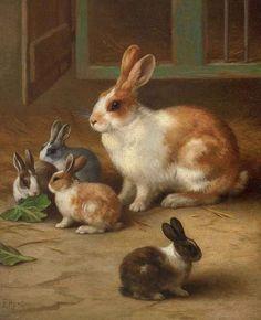 British Paintings: Edgar Hunt - Bunnies