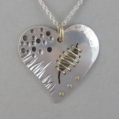 Sterling Stitched Broken Heart Pendant by SRitchieJewelry on Etsy, $250.00