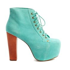 Pre-owned Women's Jeffrey Campbell Blue/Brown Heels ($69) ❤ liked on Polyvore featuring shoes, heels, shoes/boots, women shoes, blue shoes, pre owned designer shoes, jeffrey campbell shoes and pre owned shoes