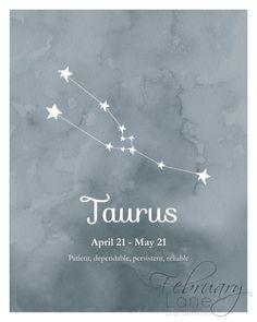 Taurus Zodiac Constellation Wall Art Printable door FebruaryLane