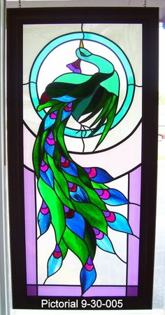 """Peacock"" 23"" x 47"" Stained Glass Hanging by Jamie 