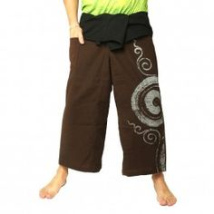 Pantalones pescador tailandés - con la impresión de caracol - marrón de algodón