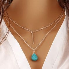 SHARE & Get it FREE | Faux Turquoise Water Drop Bar Layered NecklaceFor Fashion Lovers only:80,000+ Items • FREE SHIPPING Join Twinkledeals: Get YOUR $50 NOW!