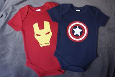 2 Pack Organic Avengers Iron Man Captain America Inspired Unisex Baby Clothes Baby Onesie by Adorabo on Etsy https://www.etsy.com/listing/231935123/2-pack-organic-avengers-iron-man-captain