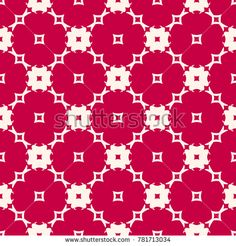 Red and beige seamless pattern with floral shapes, mosaic tiles. Elegant geometric ornament, abstract background texture. Festive holiday design for decoration, fabric, textile, prints. Stock vector