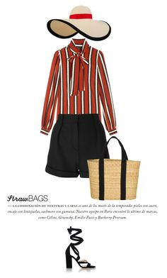 """""""Straw Bag #2"""" by anja-173 ❤ liked on Polyvore featuring Eugenia Kim, Gucci, IRO, Joie, Barneys New York and strawbags"""