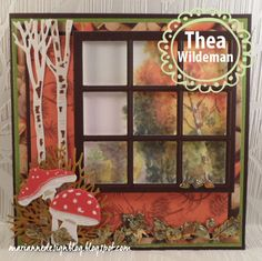 Billedresultat for Marianne design window Window Cards, 3d Cards, Marianne Design, Shaker Cards, Fall Cards, Autumn Leaves, Dachshund, Card Stock, Card Making