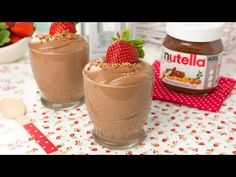 Learn how to make a creamy Nutella mousse with only 2 ingredients! This Nutella mousse is light, fluffy and absolutely delicious! A really beautiful dessert! Dessert Cake Recipes, Desserts, Nutella Mousse, Blueberry Dump Cakes, Homemade Graham Crackers, Most Delicious Recipe, Cookies, Sweet Recipes, Tan Solo