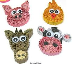 Barnyard Animal Magnets Quilling Kit Ripple and Roll four cute barn animals (pig, chick, horse, & cow) to decorate your locker, fridge and more! www.customquilling.com