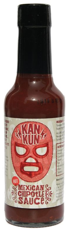 KanKun Mexican Chipotle Sauce, old school loose, out of register screen on the red, very nice Chipotle Sauce, Stuffed Hot Peppers, Hot Sauce Bottles, Dark Side, Whiskey Bottle, Packaging Design, Jars, Mexico, Label