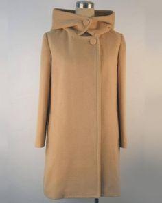 Camel Simple Design Long Sleeve Big Lapel Woolen Hooded Long Coat Indressme $47.70