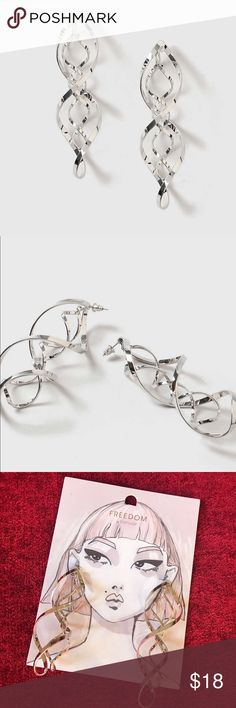 Oversized Swirl Drop Earring Silver look oversized drop earrings with swirl detailing. Drop length 3.7inch. By Freedom at Topshop. 100% Metal. Topshop Jewelry Earrings