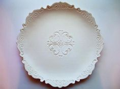 SnowFlake White Extra Large 16 in. Serving Tray by CatsPawPottery