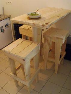 Table haute avec bois de récupération et pieds avec poutre en chêne ...