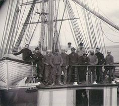 Crew standing on the wheelhouse of the three-masted German ship TARPENBEK, Puget Sound port, Washington, ca. 1904. :: Wilhelm Hester Photographs