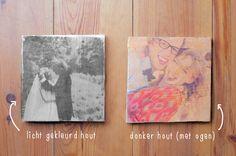 Leuke DIY voor houten plankjes met foto's erop. Nodig: mod podge en gel medium.