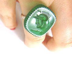 Emerald green Czech glass warrior intaglio insignia adjustable ring