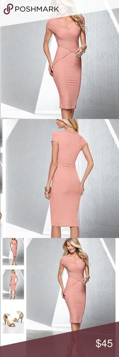 🎉HOST PICK 🎉Ribbed midi Dress Beautiful midi dress,I would call this colour peach!!!worn once,for 2hrs.its in a great condition 💚❤️💕💕 Dresses Midi