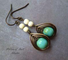 Boho earrings, wire wrapped earrings, Copper earrings, wire wrapped jewelry handmade, copper wire jewelry, turquoise & white howlite