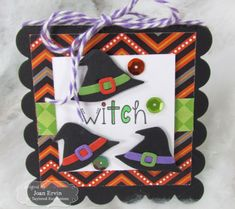 Witch 3x3 Notecard by Joan Ervin #Cardmaking, #Halloween, #3x3Notecards, #LittleBitsDies