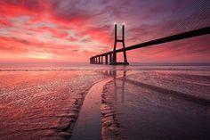 Sunset by Vasco da Gama bridge @ Lisbon - Portugal