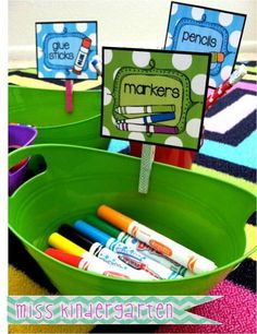 Organize with supply labels on clothespins.