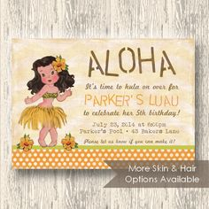 Vintage Luau Invitation for Birthday Party or Baby Shower - Girls Hula DIY Printable Invite by BeeAndDaisy - Skin and Hair Options. $14.00, via Etsy.