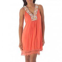 Embellished Neckline Dress with Lace Trim