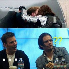 """OMG, WAS THAT REALLY THEIR REACTION!?!?  XD  That was the most perfect reaction ever, I'm not sure which picture I like more.  (Edit: Sebastian Stan's face is like, """"Wait, wait, is this photoshopped?"""" While he goes through his memory trying to understand what's going on)"""