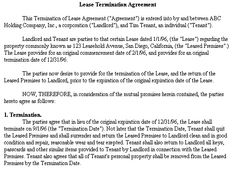 Lease Termination Agreement  Realcreforms  Termination Of Lease