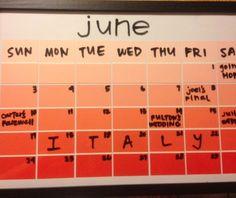 Paint Chips + Frame + Dry Erase Marker = Instant Calendar