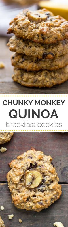 These AMAZING chunky monkey quinoa breakfast cookies have banana, peanut butter and chocolate chips and they're actually HEALTHY gluten-free + vegan Breakfast And Brunch, Quinoa Breakfast, Breakfast Cookies, Breakfast Recipes, Breakfast Bars, Breakfast Ideas, Banana Breakfast, Breakfast Casserole, Alkaline Breakfast