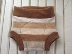 Medium Upcycled Brown striped Wool Soaker Cloth Diaper by Jamnee, $14.00