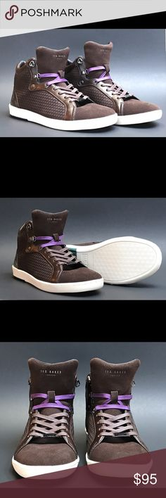 NWOT Ted Baker Brown Fashion Sneakers Alcaeus These are new Ted Baker Fashion Sneakers out of the box. Size: 9. Have not been worn, and tags were taken off for a display. Gorgeous sneakers. They come with 2 different color laces, a brown lace and a purple. You can interchange or use both. Great condition as you can see from photos. Ted Baker London Shoes Sneakers