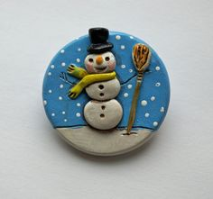 Snowman Brooch Pin from Polymer Clay with by indigotwinholiday, $14.00
