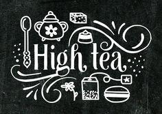 Krijtbord uitnodiging voor een high tea met witte illustraties zoals theelepel, macaron, bonbon, en bloemetje. Deze kaart is verkrijgbaar bij #kaartje2go voor €1,89
