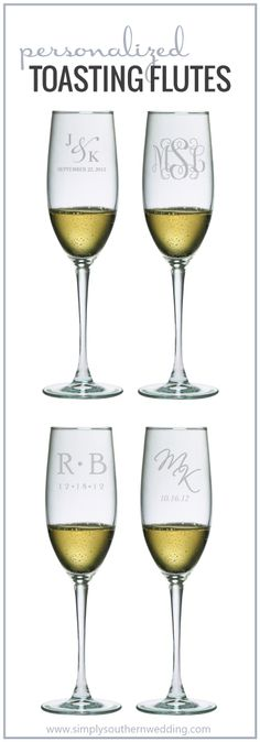Monogrammed Champagne Toasting Flutes | Personalized Wedding Details via Simply Southern Wedding Boutique