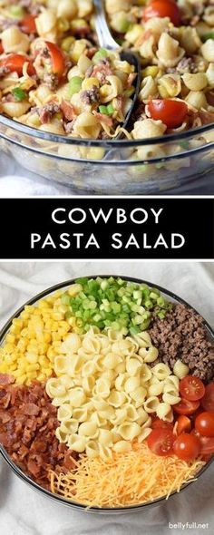 Bacon ground beef cheese and hot sauce make this Cowboy Pasta. Bacon ground beef cheese and hot sauce make this Cowboy Pasta Salad a definite crowd pleaser! Perfect for summer get togethers. Pasta Salat, Cooking Recipes, Healthy Recipes, Budget Cooking, Recipes For Salads, Salads For Bbq, Camping Salads, Bariatric Recipes, Party Salads