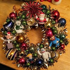 Sonya Bailey Collett (@sonyabaileycollett) | Rudolph Wreath using the figurines and vintage ornaments on a tinsel wreath #baubles #ornaments #vintage #wreath #rudolphtherednosedreindeer. #rudolph #tinsel #Christmas | Intagme - The Best Instagram Widget