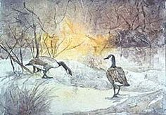rice paper collage of Canada geese in snow. Creating Collages With Rice Paper © 2000 Nita Leland Watercolor Art Lessons, Watercolor Mixing, Watercolour Tutorials, Watercolor Paintings, Watercolors, Create Collage, Collage Making, Collage Art, Beautiful Collage